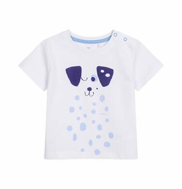 T-shirt z krótkim rękawem dla dziecka do 2 lat, z psem w kropki, biały N03G029_1