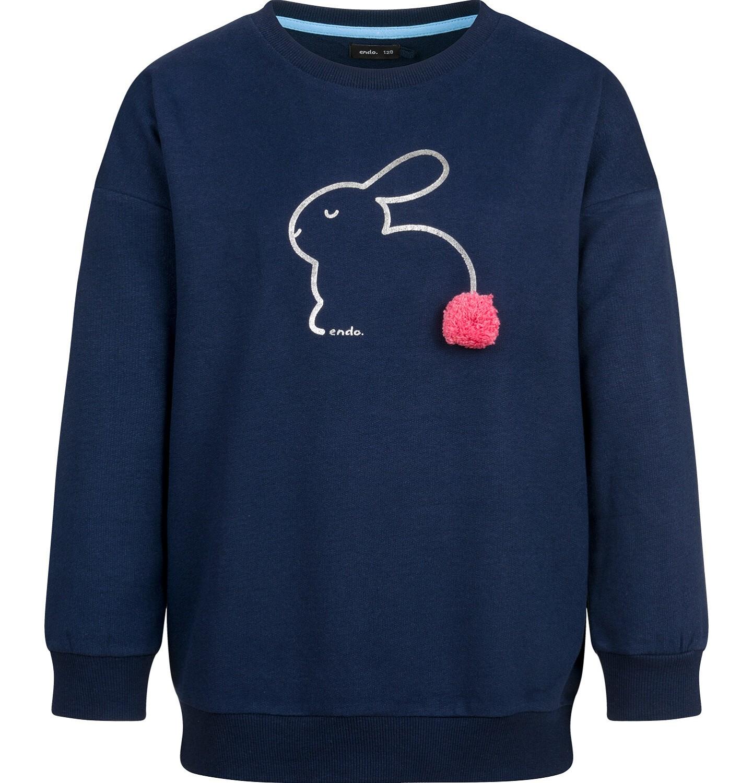 Endo - Bluza dla dziewczynki, z aplikacją 3D, granatowa, 2-8 lat D03C021_1