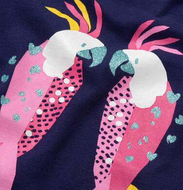 Endo - Dżersejowa sukienka z krótkim rękawem, rękawki z falbanką, granatowa z papugami, 2-8 lat D05H037_1 21