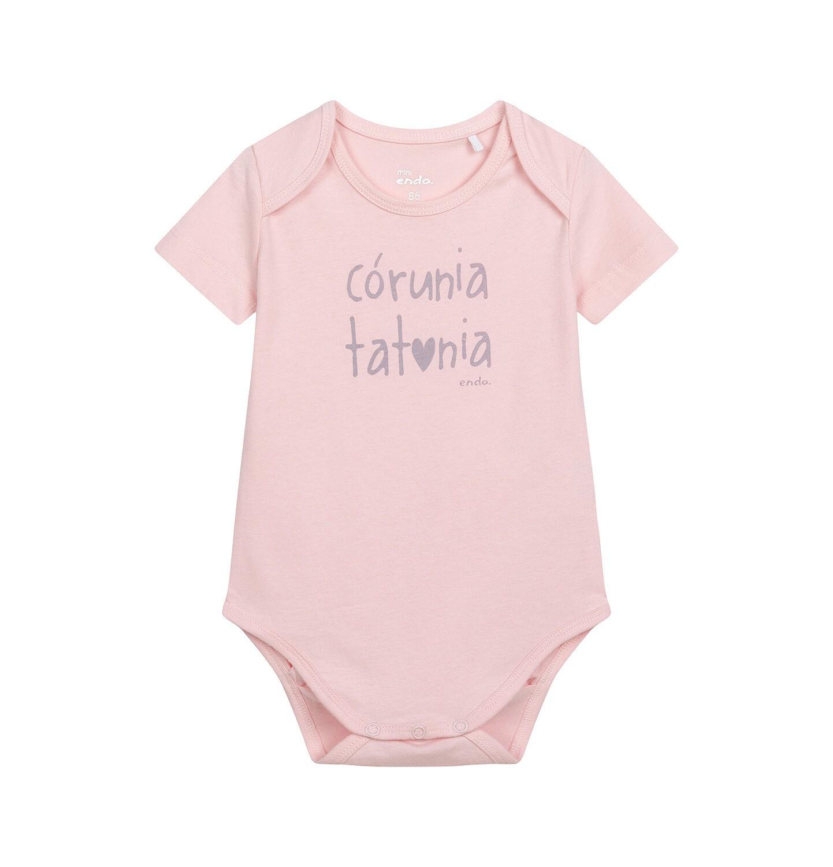 Endo - Body z krótkim rękawem dla dziecka do 2 lat, z napisem córuniu tatunia, różowe N06M005_1
