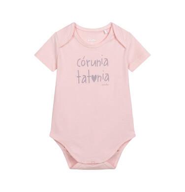 Endo - Body z krótkim rękawem dla dziecka do 2 lat, z napisem córuniu tatunia, różowe N06M005_1,1