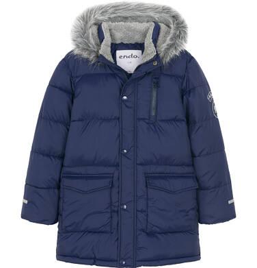 Endo - Zimowa kurtka dla chłopca 9-13 lat, Polarny świat, długa, ciemnogranatowa C92A506_1