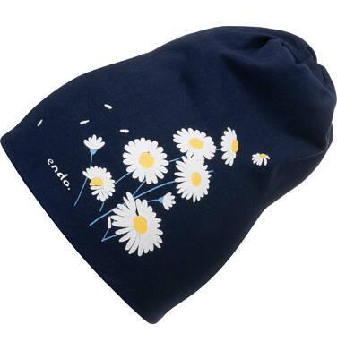 Endo - Czapka wiosenna dla dziecka, ze stokrotkami, granatowa D05R003_1 2
