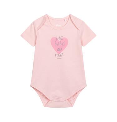 Endo - Body z krótkim rękawem dla dziecka do 2 lat, z napisem bez babci ani rusz, różowe N06M007_1 4