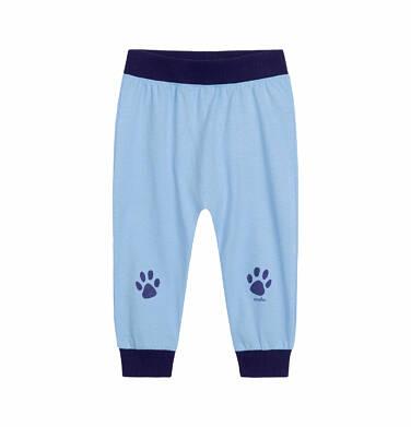 Endo - Spodnie dla dziecka do 2 lat, z psimi łapkami na nogawkach, niebieskie N03K022_1