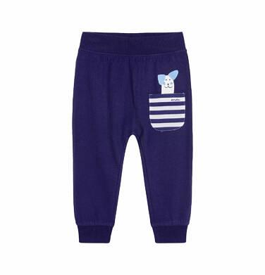 Endo - Spodnie dla dziecka do 2 lat, z kieszonką i psem, granatowe N03K023_1,1
