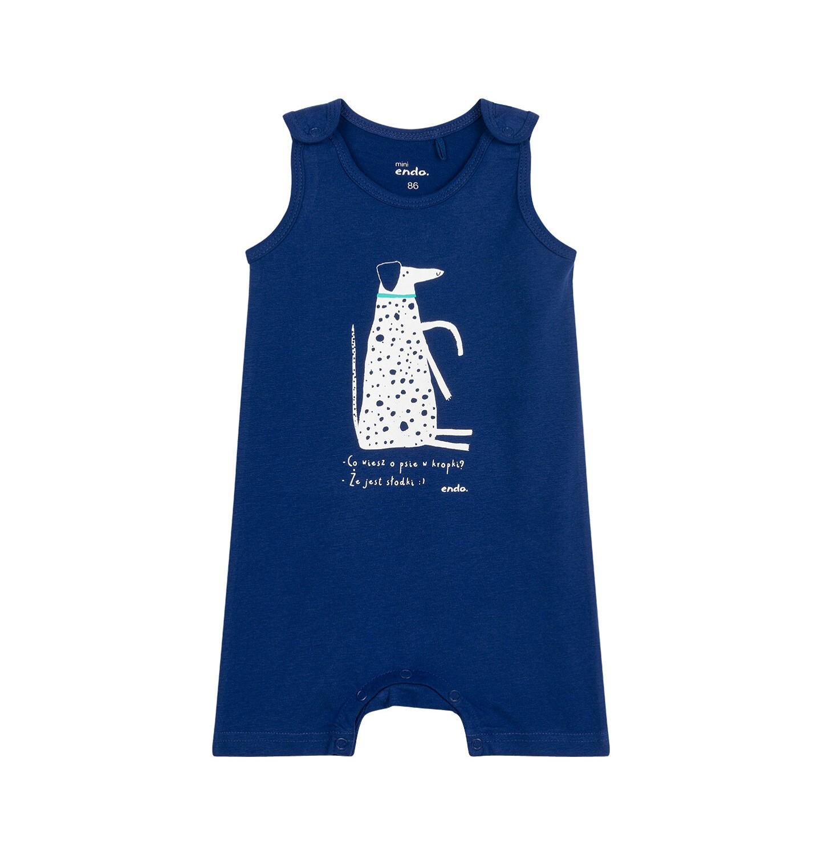 Endo - Rampers dla dziecka do 2 lat, z psem w kropki, niebieski N03N020_1