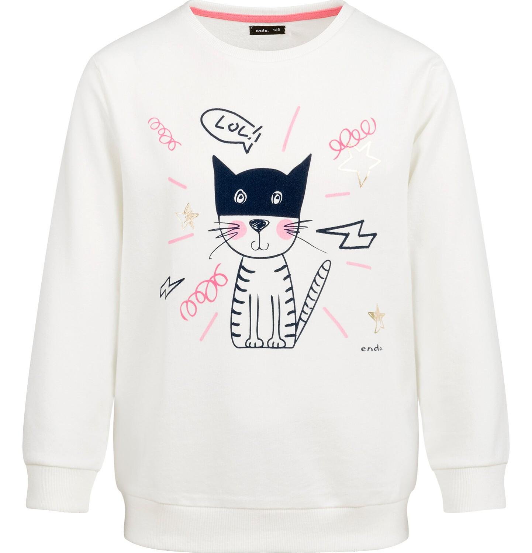 Endo - Bluza dla dziewczynki, z kotem, porcelanowa, 9-13 lat D03C520_1