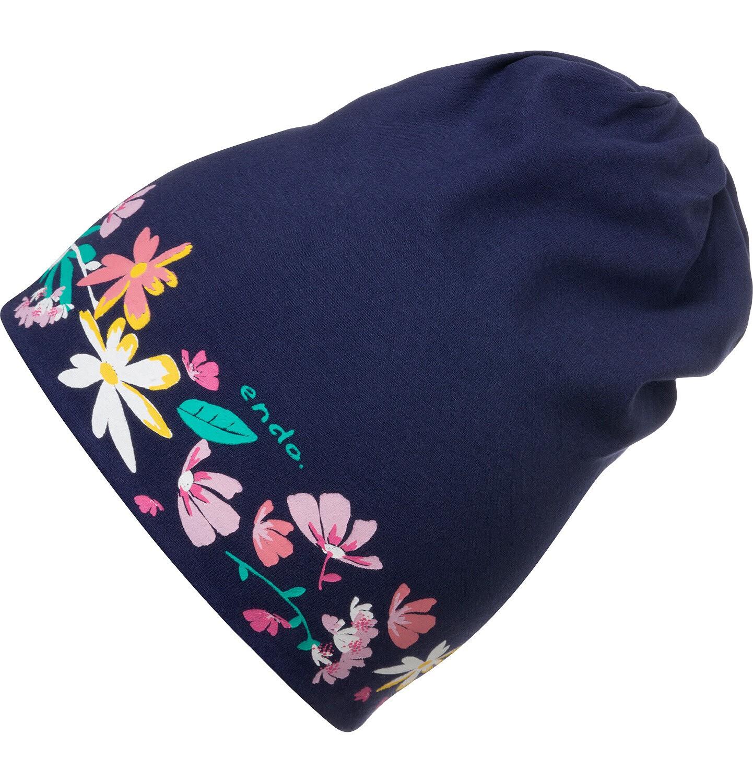Endo - Czapka wiosenna dla dziecka, w kolorowe kwiatki, granatowa D05R015_1
