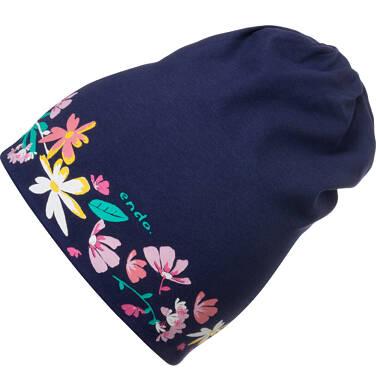 Czapka wiosenna dla dziecka, w kolorowe kwiatki, granatowa D05R015_1