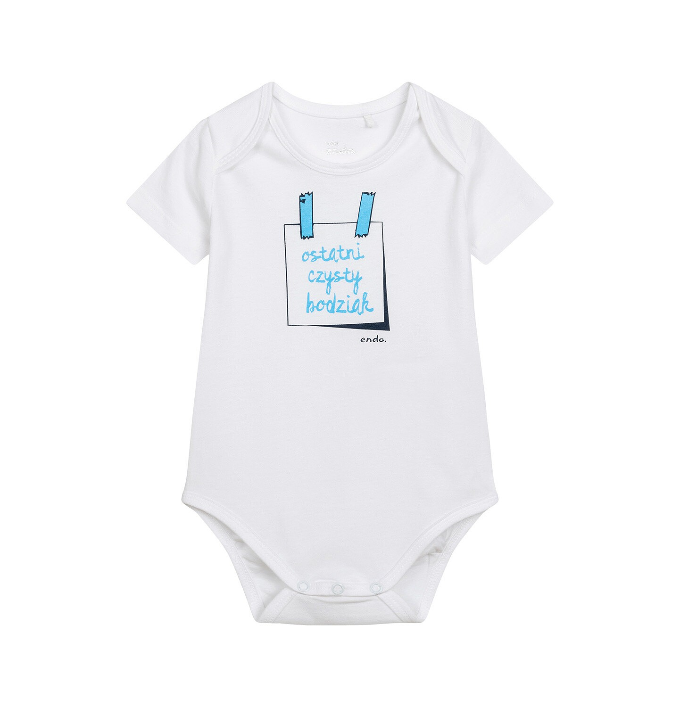 Endo - Body z krótkim rękawem dla dziecka do 2 lat, z napisem ostatni czysty bodziak, białe N06M027_1