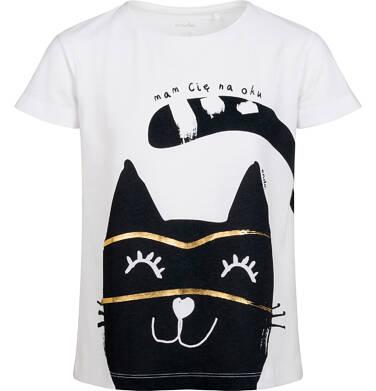 T-shirt z krótkim rękawem dla dziewczynki, z dużym kotem, biały, 2-8 lat D05G090_2