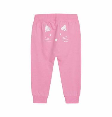 Endo - Spodnie dla dziecka do 2 lat, z kotem, różowe N03K027_1,2