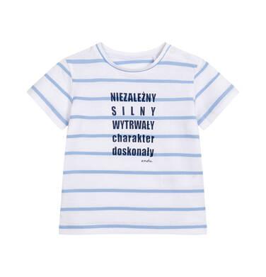 Endo - T-shirt z krótkim rękawem dla dziecka do 2 lat, biały w niebieskie paski N05G009_1 5