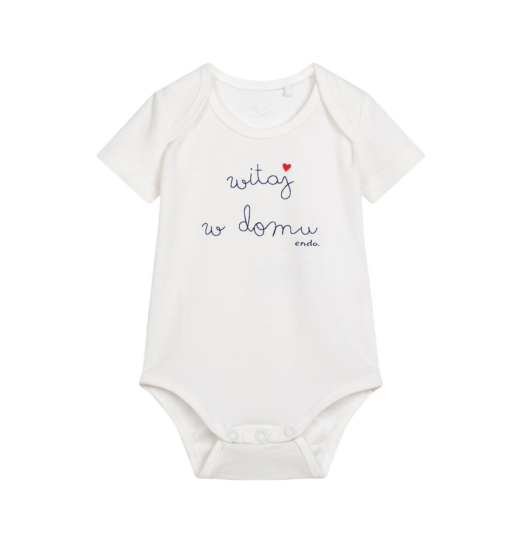 Endo - Body z krótkim rękawem dla dziecka do 2 lat, z napisem witaj w domu, kremowe N06M036_1