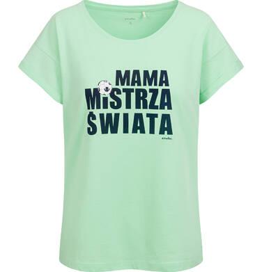 T-shirt damski, mama mistrza świata, zielony Y03G016_1