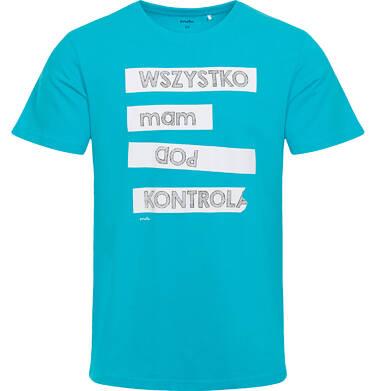 Endo - Męski t-shirt z krótkim rękawem, z napisem  wszystko mam pod kontrolą, niebieski Q06G017_1 2