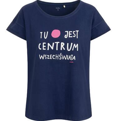 T-shirt damski, centrum wszechświata, granatowy Y03G017_1