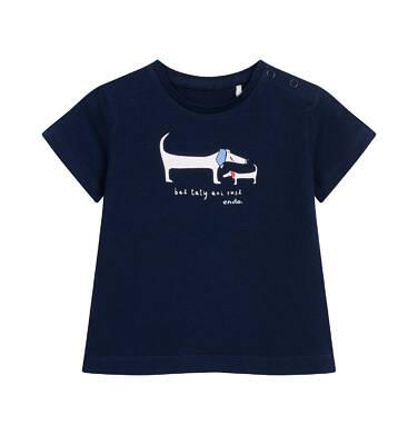 Endo - T-shirt z krótkim rękawem dla dziecka do 2 lat, z pieskami, granatowy N05G013_1 3