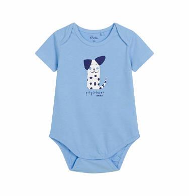 Endo - Body z krótkim rękawem dla dziecka do 2 lat, pies - przytulasek, niebieskie N03M003_1