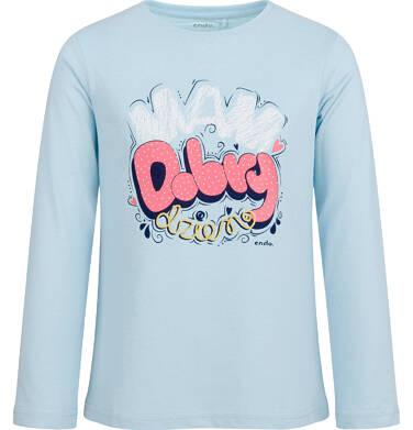 Endo - Bluzka z długim rękawem dla dziewczynki, mam dobry dzień, błękitna, 2-8 lat D03G186_1 24