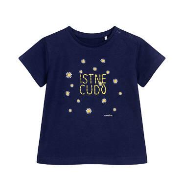 Endo - T-shirt z krótkim rękawem dla dziecka do 2 lat, z napisem i stokrotkami, granatowy N05G016_1 27
