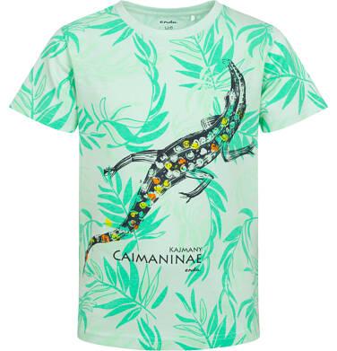 Endo - T-shirt z krótkim rękawem dla chłopca, z kajmanem, zielony, 2-8 lat C05G115_1 104