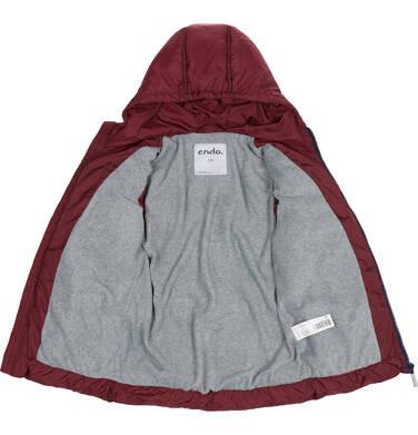 Endo - Zimowa kurtka dla chłopca 3-8 lat, ciemnowiśniowa, odblaskowe elementy, polarowa podszewka, ciepła C92A011_2,2