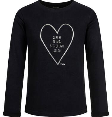 Endo - Bluzka z długim rękawem dla dziewczynki, z sercem, czarna, 2-8 lat D03G191_1 275