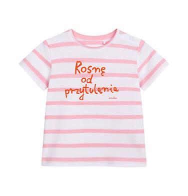 T-shirt z krótkim rękawem dla dziecka do 2 lat, beżowy w różowe paski N05G019_1