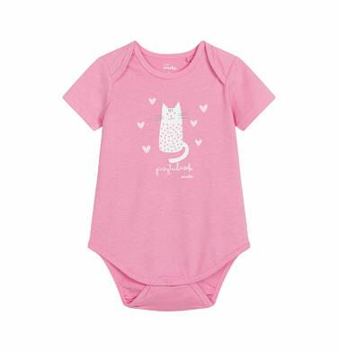 Endo - Body z krótkim rękawem dla dziecka do 2 lat, kot - przytulasek, różowe N03M008_1
