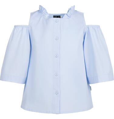 Rozpinana koszula z krótkim rękawem dla dziewczynki, odsłonięte ramiona, niebieska, 2-8 lat D03F006_1