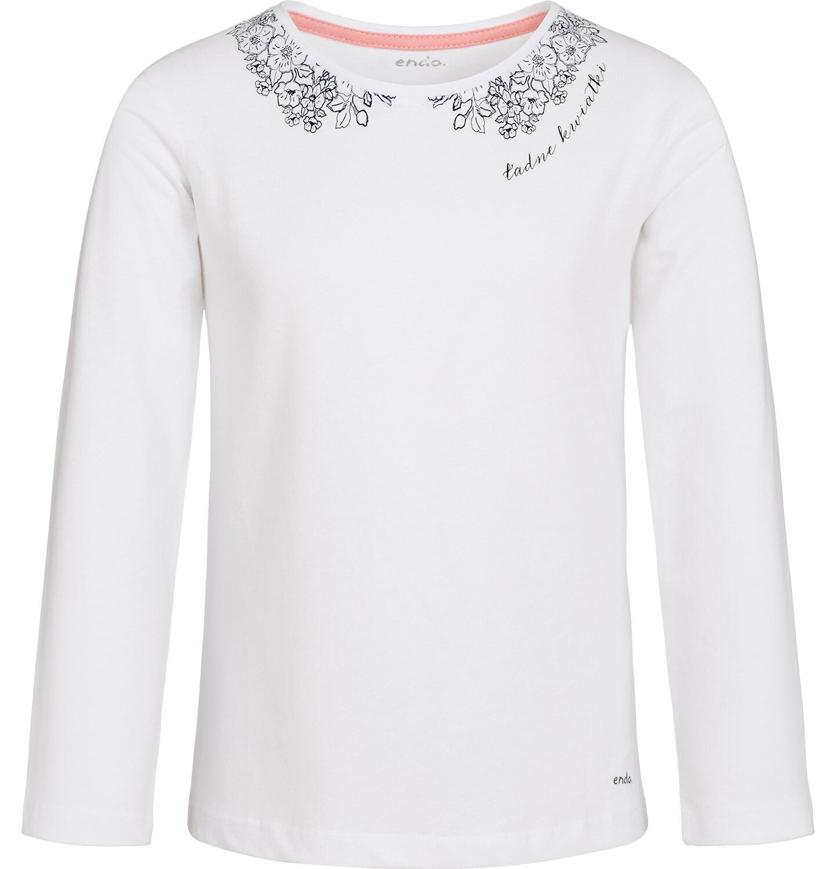 Endo - Bluzka z długim rękawem dla dziewczynki, ozdobny kołnierzyk, biała, 3-8 lat D92G003_1