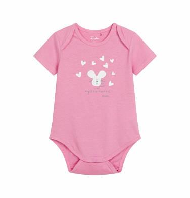 Endo - Body z krótkim rękawem dla dziecka do 2 lat, z myszką, różowe N03M010_1