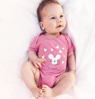 Body z krótkim rękawem dla dziecka do 2 lat, z myszką, różowe N03M010_1