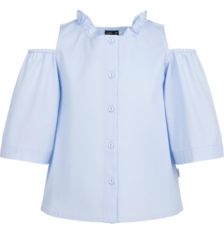 Endo - Rozpinana koszula z krótkim rękawem dla dziewczynki, odsłonięte ramiona, niebieska, 9-13 lat D03F506_1