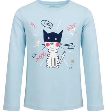 Endo - Bluzka z długim rękawem dla dziewczynki, z kotem, błękitna, 2-8 lat D03G193_1 171