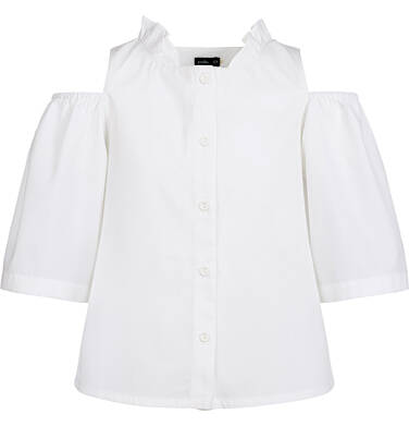 Endo - Rozpinana bluzka koszulowa z krótkim rękawem dla dziewczynki, odsłonięte ramiona, biała, 2-8 lat D03F006_2 2