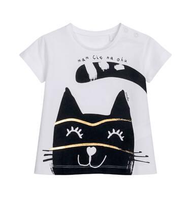 T-shirt z krótkim rękawem dla dziecka do 2 lat, kremowy z kotem N05G043_2