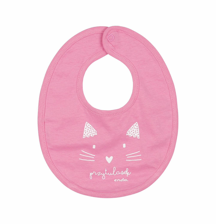 Endo - Śliniak dla dziecka, kot - przytulasek, różowy N03M014_1