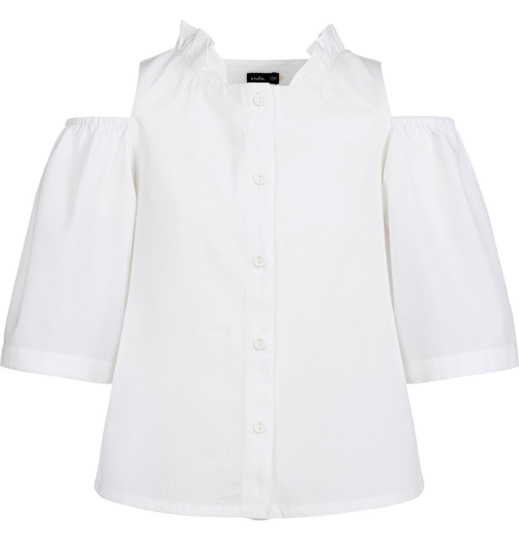 Endo - Rozpinana bluzka koszulowa z krótkim rękawem dla dziewczynki, odsłonięte ramiona, biała, 9-13 lat D03F506_2
