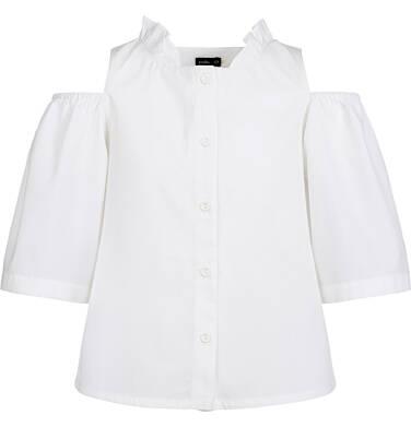 Endo - Rozpinana koszula z krótkim rękawem dla dziewczynki, odsłonięte ramiona, biała, 9-13 lat D03F506_2 231