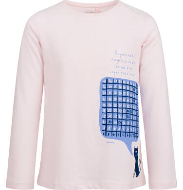Bluzka z długim rękawem dla dziewczynki, z tabliczką mnożenia, różowa, 2-8 lat D03G195_1