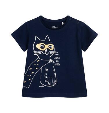 T-shirt z krótkim rękawem dla dziecka do 2 lat, granatowy z kotem bohaterem N05G044_1