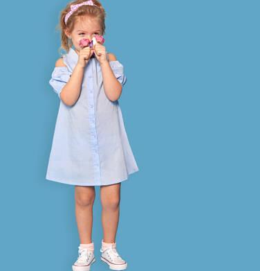 Koszulowa sukienka z odłoniętymi ramionami, niebieska, 2-8 lat D03H022_1
