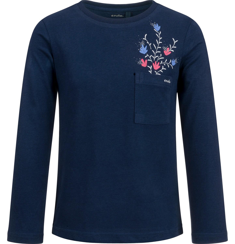 Endo - Bluzka z długim rękawem dla dziewczynki, z kieszonką, granatowa, 2-8 lat D03G198_2
