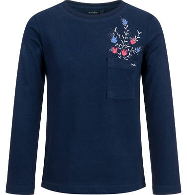 Endo - Bluzka z długim rękawem dla dziewczynki, z kieszonką, granatowa, 2-8 lat D03G198_2 29