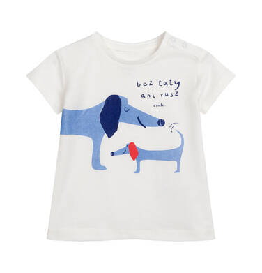 Endo - T-shirt z krótkim rękawem dla dziecka do 2 lat, z pieskami, kremowy N05G055_1 2