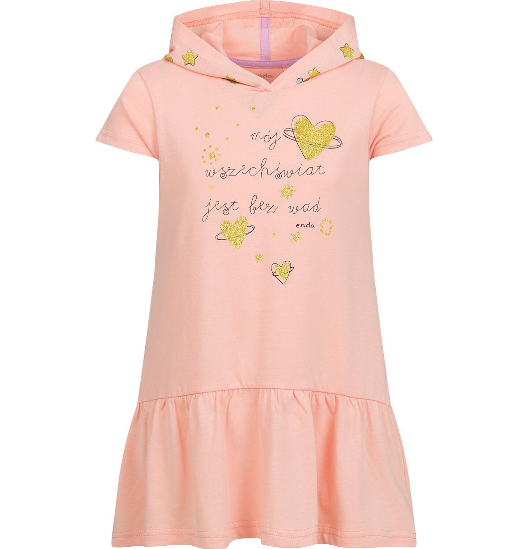 Endo - Sukienka z krótkim rękawem i z kapturem dla dziewczynki, luźny krój, pomarańczowa, 2-8 lat D03T008_1