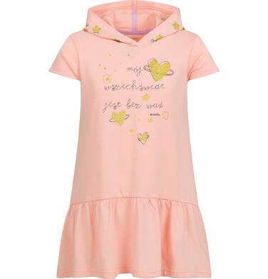 Endo - Sukienka z krótkim rękawem i z kapturem dla dziewczynki, luźny krój, pomarańczowa, 2-8 lat D03T008_1 1